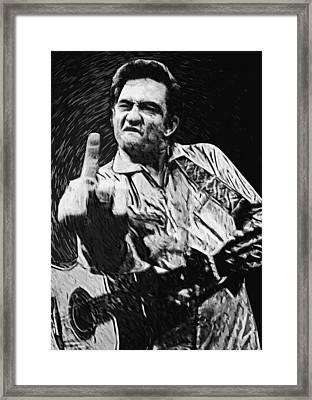 Johnny Cash Framed Print by Taylan Soyturk