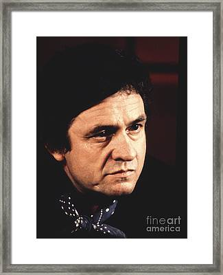 Johnny Cash The Man In Black Framed Print by Chris Walter