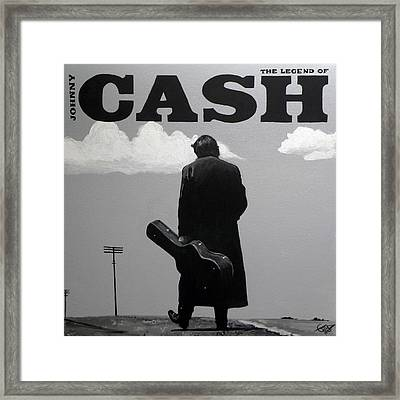 Johnny Cash Framed Print by Tom Carlton