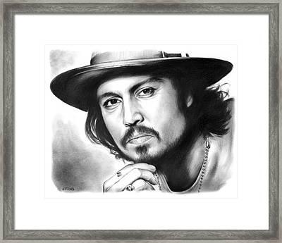 Johnny Depp Framed Print by Greg Joens