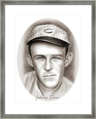 Johnny Evers Framed Print by Greg Joens