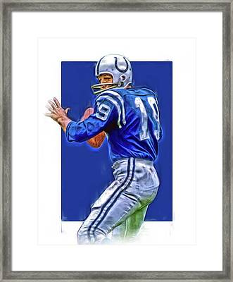 Johnny Unitas Baltimore Colts Oil Art Framed Print by Joe Hamilton