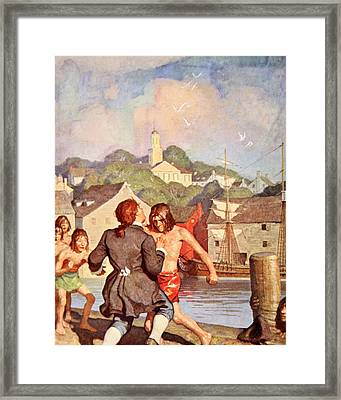 Johnny's Fight With Cherry Framed Print by Newell Convers Wyeth