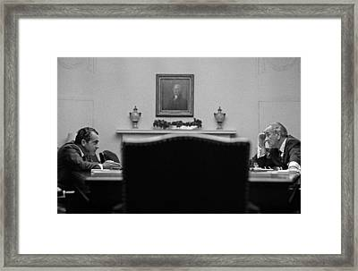 Johnson And Nixon At The White House Framed Print by War Is Hell Store