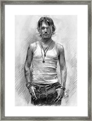 Johny Depp Framed Print by Ylli Haruni