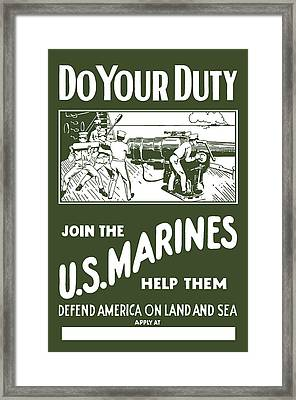 Join The Us Marines Framed Print by War Is Hell Store