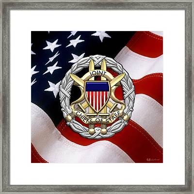 Joint Chiefs Of Staff - J C S Identification Badge Over U. S. Flag Framed Print by Serge Averbukh