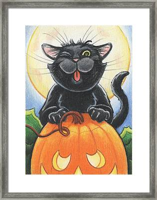 Jolly Ollie Halloween Framed Print by Amy S Turner