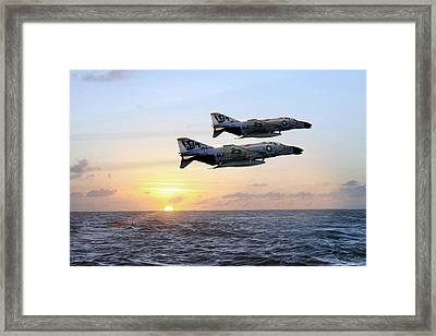 Jolly Rogers Sunset Framed Print by Peter Chilelli