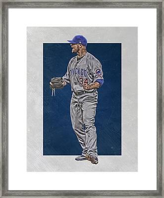 Jon Lester Chicago Cubs Art Framed Print by Joe Hamilton