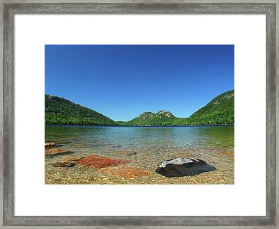 Jordan Pond And The Bubbles Framed Print by Juergen Roth