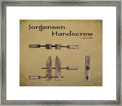 Jorgensen Handscrew Framed Print by Tom Mc Nemar