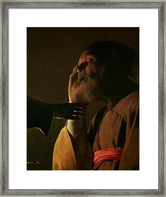 Joseph And The Angel Framed Print by Georges de la Tour