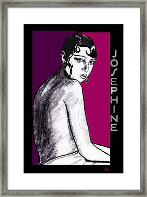 Josephine Baker Portrait In Plum Pink Framed Print by Cecely Bloom