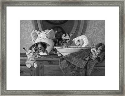 Joyful Morning - Black And White Framed Print by Lucie Bilodeau