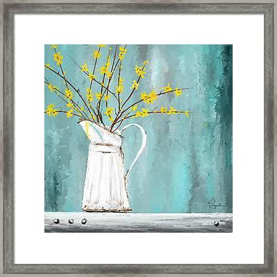 Joys Of Bloom - Forsythia Art Framed Print by Lourry Legarde