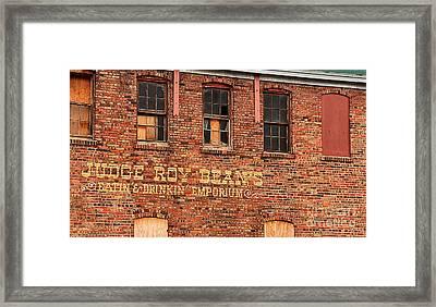 Judge Roy Bean's 1204 Framed Print by Ken DePue