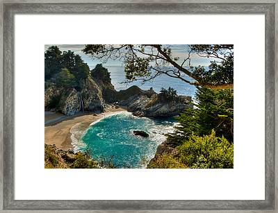 Julia Pfeiffer State Park Falls Framed Print by Connie Cooper-Edwards