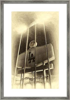 Jumbo Tron At Dodger Stadium Framed Print by Ron Regalado