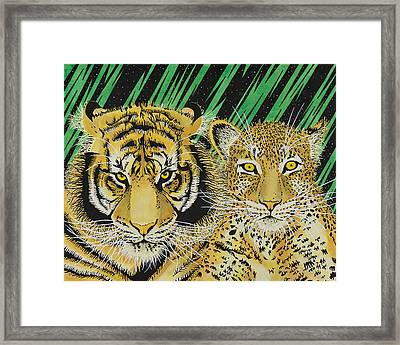 Jungle Cats Framed Print by Alan Morrison
