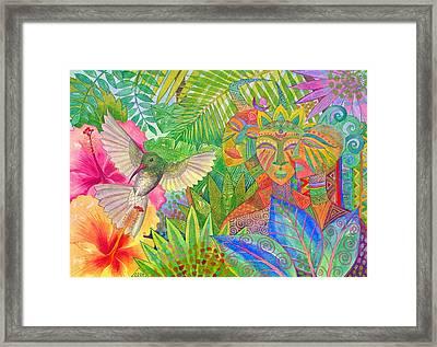 Jungle Spirits And Humming Bird Framed Print by Jennifer Baird
