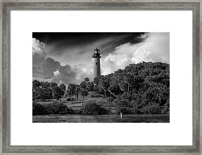 Jupiter Lighthouse Bw Framed Print by Laura Fasulo