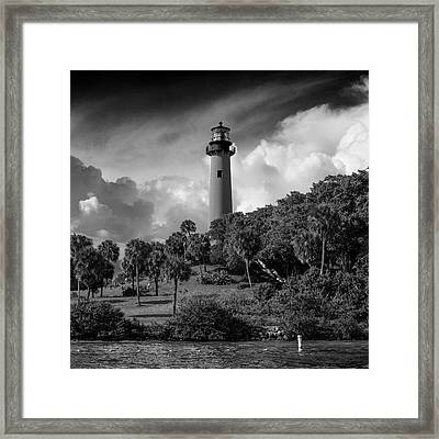 Jupiter Lighthouse Bw Sq Framed Print by Laura Fasulo
