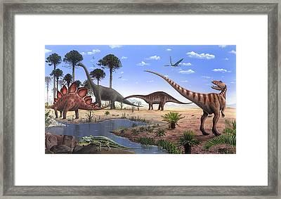 Jurassic Dinosaurs, Artwork Framed Print by Richard Bizley