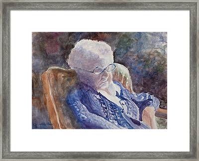 Just Resting My Eyes Framed Print by Mary Benke