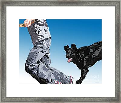 Just Throw The Stick Framed Print by Cathy  Beharriell