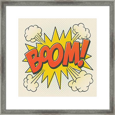 Comic Boom On Off White Framed Print by Mitch Frey