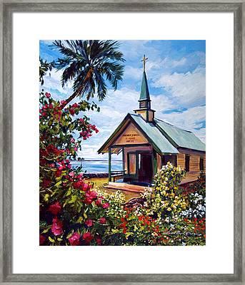 kahaalu Church Hawaii Framed Print by David Lloyd Glover