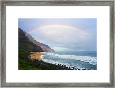 Kalalau Beach Rainbow Framed Print by Kevin Smith
