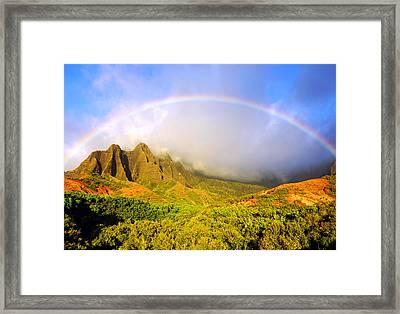 Kalalau Sunset Rainbow Kauai Framed Print by Kevin Smith