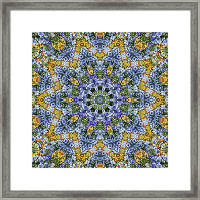 Kaleidoscope - Blue And Yellow Framed Print by Nikolyn McDonald