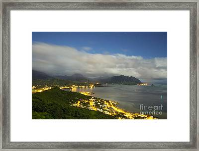 Kaneohe At Night Framed Print by Charmian Vistaunet