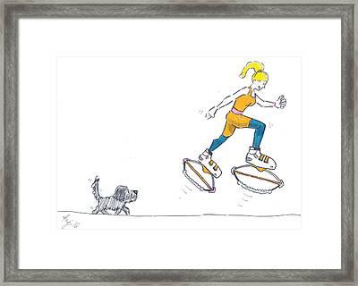 Kangoo Jumps Bouncy Shoes Walking The Dog Keep Fit Cartoon Framed Print by Mike Jory
