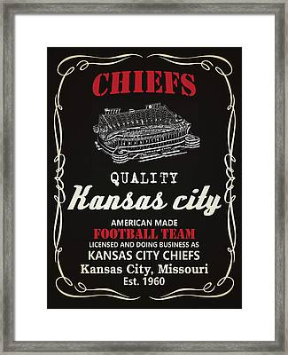 Kansas City Chiefs Whiskey Framed Print by Joe Hamilton