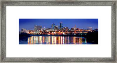 Kansas City Missouri Skyline At Night Framed Print by Jon Holiday