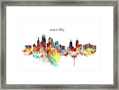 Kansas City Skyline Silhouette Framed Print by Marian Voicu