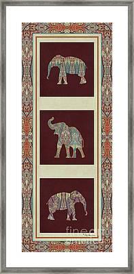 Kashmir Elephants - Vintage Style Patterned Tribal Boho Chic Art Framed Print by Audrey Jeanne Roberts