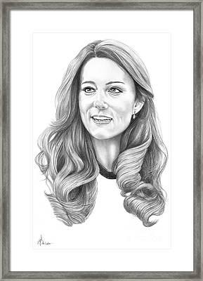 Kate Middleton Catherine Duchess Of Cambridge Framed Print by Murphy Elliott