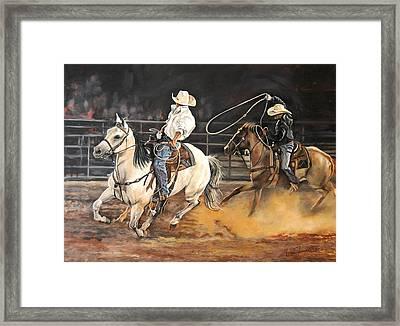 Kat's Cowboys Framed Print by Leisa Temple