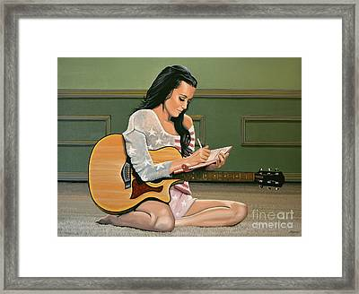 Katy Perry Painting Framed Print by Paul Meijering