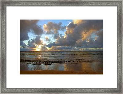 Kauai Sunrise Reflections Framed Print by Stephen  Vecchiotti