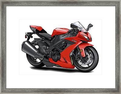 Kawasaki Ninja Red Motorcycle Framed Print by Maddmax