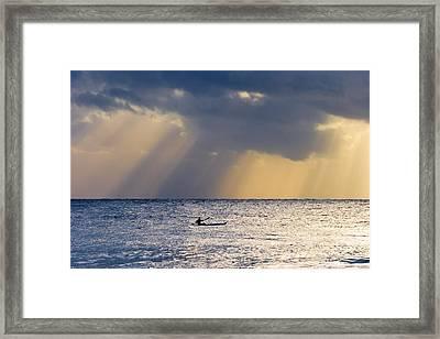 Kayak At Dawn Framed Print by Mike  Dawson