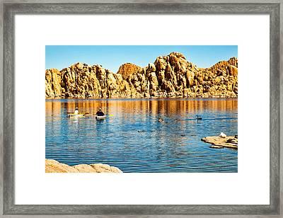 Kayaking On Watson Lake In Prescott Arizona Framed Print by Susan Schmitz