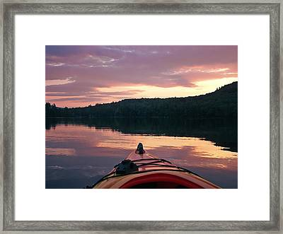 Kayaking Under A Gorgeous Sundown Sky On Concord Pond Framed Print by Joy Nichols