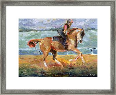 Keeneland Canter Framed Print by Sandra Barth